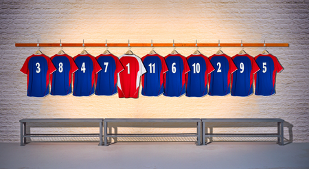 Row of Blue Football Team shirts with Red Shirt 3-5