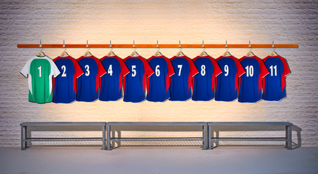Row of Blue Football Team shirts with Green Shirt 1-11