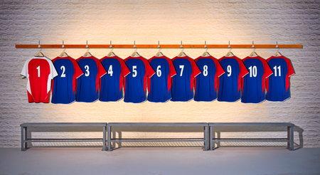 Row of Red and Blue Shirt 1-11 Stock Photo