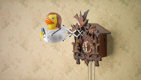 Nurse rubber duck coming out of cuckoo clock on flowery wallpaper Stock Photo