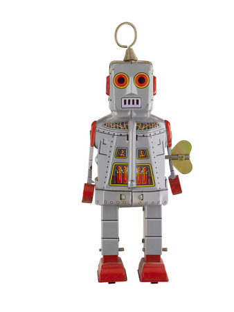 Silver and red vintage tin robot isolated on white Stock Photo