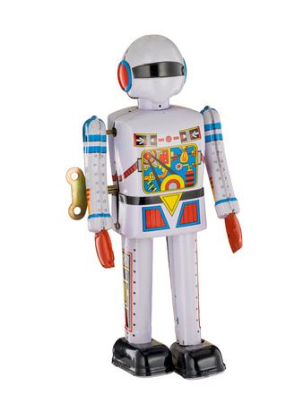 White Robot Spaceman isolated on white background Stock Photo