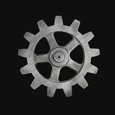 Silver Cog on Black Background