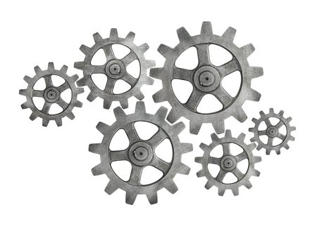 Six silver cog wheels on white background