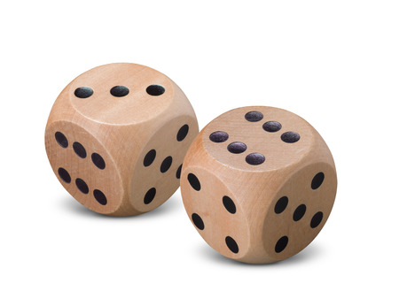 Pair of wooden dice on white background with shadow Stock Photo