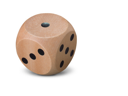 Single wooden Dice on white background with shadow