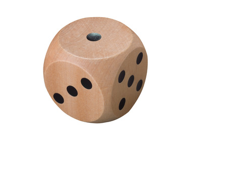 Single wooden dice isolated on white