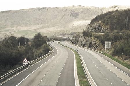 cumbria: Empty motorway in the Lake District,UK
