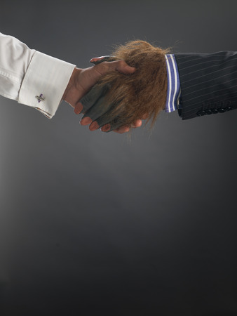 Hairy hand hand shake with two people against gray background
