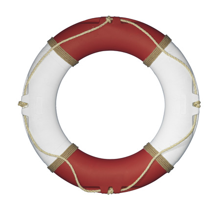 Isolated red and white  Life Ring on white background