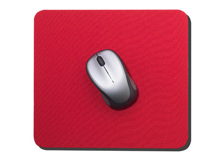 Silver Computer mouse on red mouse mat isolated on white