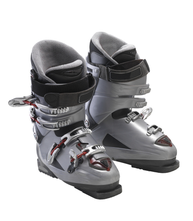 실버 착용 스키 부츠에 격리 된 흰색 배경