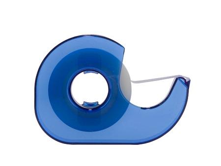 Blue Sellotape dispenser isolated on white background