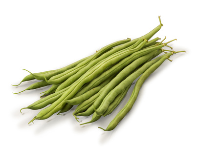 snap bean: Organic Green French Beans isolated on white background Stock Photo