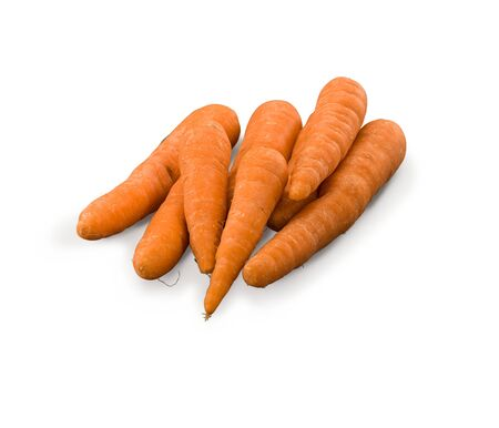 Organic Washed Carrots isolated on white background Banco de Imagens