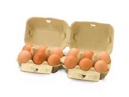peasant: Organic Egg box with a dozen eggs isolated on white