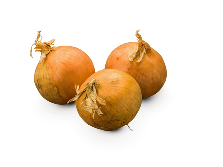 Organic Onions isolated on white background Banco de Imagens