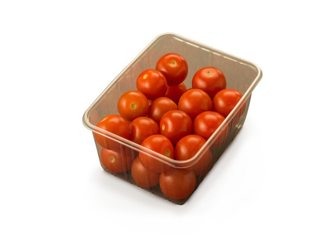 Tomatoes Cherry Pack in pack container isolated on white