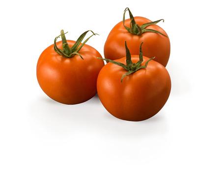 Three Large Tomatoes isolated on white background Banco de Imagens
