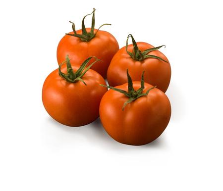 Four Large Tomatoes isolated on white background
