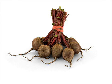 Organic Bunched Beetroot isolated on white