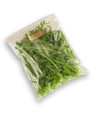 Organic Salad pack wild rocket isolated on white