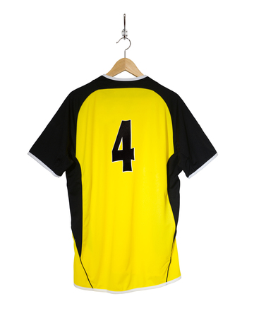 7 8: Yellow Football shirt number four hanging on hook and isolated on white background Stock Photo
