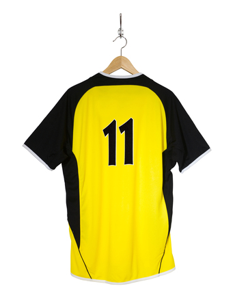 Yellow Football shirt number eleven hanging on hook and isolated on white background