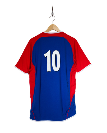 7 8: Blue Football shirt number ten hanging on hook and isolated on white background