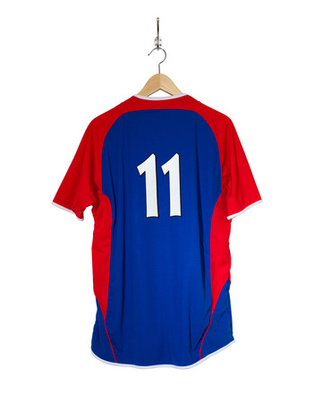 Blue Football shirt number eleven hanging on hook and isolated on white background