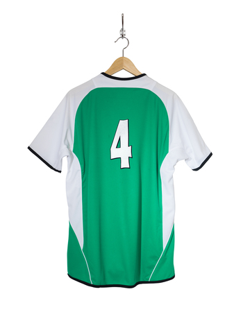Green Football shirt number four hanging on hook and isolated on white background