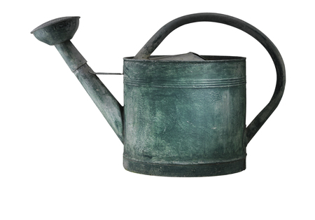 Green tarnished galvanized watering can isolated on white