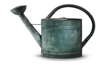 Green tarnished galvanized watering can isolated on white with shadow