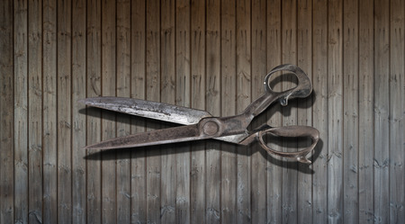 Old Drapers Shears on wooden background