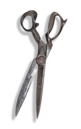 Old Drapers Shears isolated on white with shadow Stockfoto