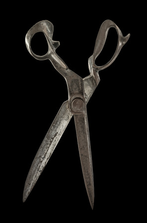 Old Drapers Shears isolated on black