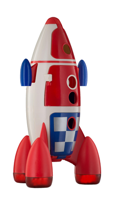 Childs plastic rocket isolated on white background