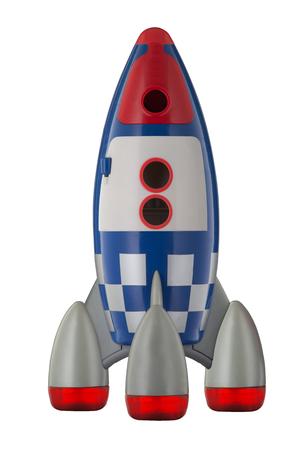 Childs plastic rocket isolated on white background