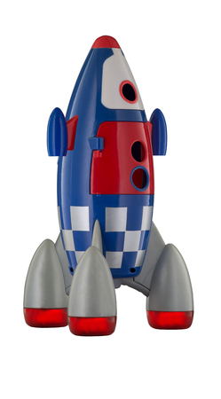 Red blue and white toy plastic childs rocket isolated on