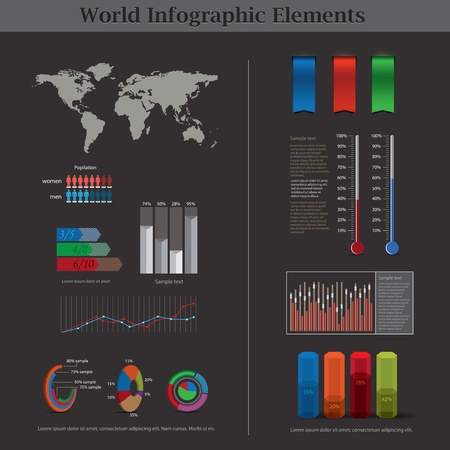Vector Infographic elements with world map