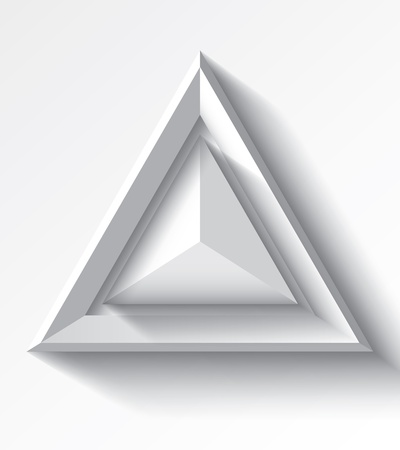 triangle shape: Realistic white geometrical background with triangle