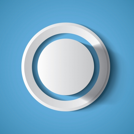 Realistic white geometrical background button