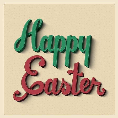 positive thought: Retro happy easter card design
