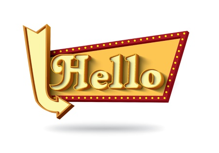 Hello Retro board with arrow Illustration