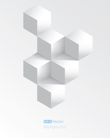 Realistic white geometrical background with cubes Illustration