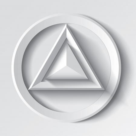 Realistic white geometrical background with triangle and circle