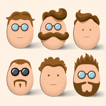 melodramatic: Egg characters face set Illustration