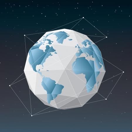 White earth globe geometrical background