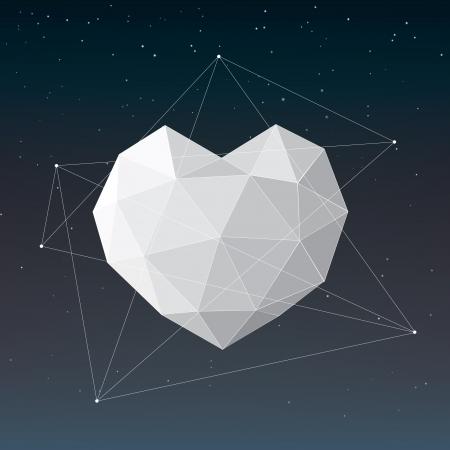 Blanc, coeur, fond géométrique Vecteurs