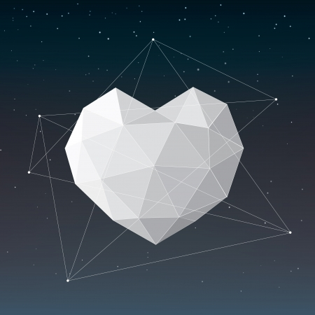 White geometrical heart background